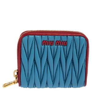 Miu Miu Blue Matelasse Zip-Around Wallet