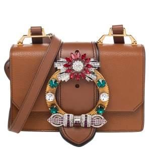 Miu Miu Brown Madras Leather Crystal Embellished Flap Shoulder Bag