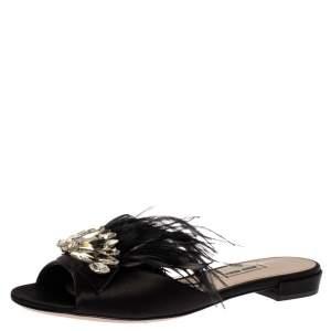 Miu Miu Black Satin Feather and Crystal Embellished Slide Flats Size 38