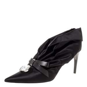 Miu Miu Black Ruched Satin Crystal Bow Embellished Pointed Toe Pumps Size 41