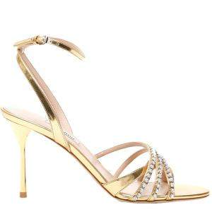 Miu Miu Gold Metallic Crystal-embellished Sandals Size EU 39