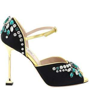 Miu Miu Black Satin Crystal Sandals Size EU 37