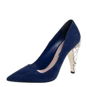 حذاء كعب عالي ميو ميو مقدمة مدببة كعب مزخرف بالكريستال سويدي أزرق مقاس 36