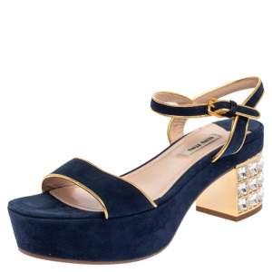 Miu Miu Blue Suede Crystal Embellished Heel Ankle Strap Platform Sandals Size 38
