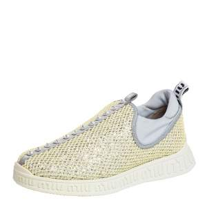 Miu Miu Yellow Mesh Crystal Embellished Slip On Sneakers Size 37