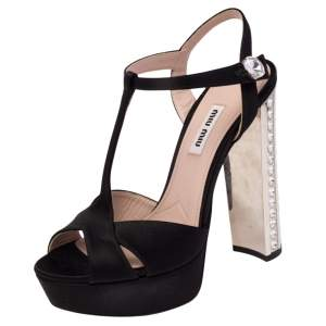 Miu Miu Black Satin Embellished Block Heel Peep Toe Platform Ankle Strap Sandals Size 36.5