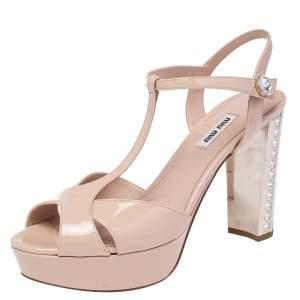 Miu Miu Beige Patent Leather T Strap Crystal Embellished Heel Platform Sandals Size 40
