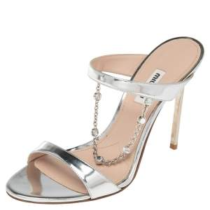 Miu Miu Silver Mirrored Leather Crystals Chain Slide Sandals Size 39