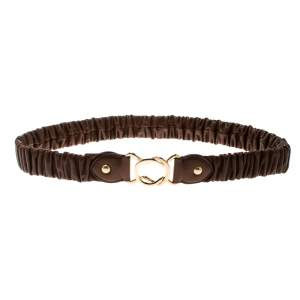 Miu Miu Brown Matelasse Leather Stretchable Belt 75 CM
