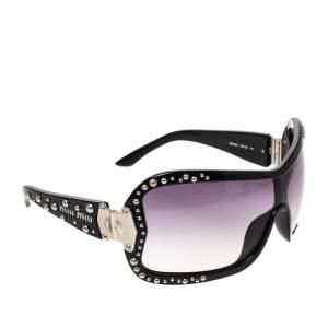 Miu Miu Black Gradient SMU02G Studded Shield Sunglasses