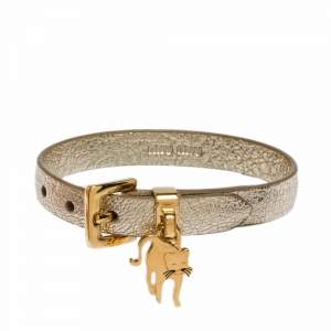Miu Miu Pyrite Gold Leather Cat Charm Bracelet