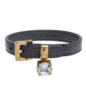 Miu Miu Grey Leather Crystal Gold Tone Bracelet