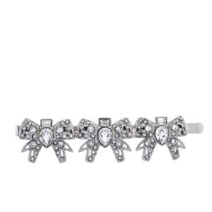 Miu Miu Silver Tone Micro Bow Jeweled Hair Clip