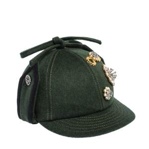 Miu Min Green Embellished Bow Top Felted Wool Cap S