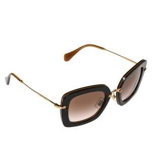 Miu Miu Havana & Gold /Brown Gradient SMU 07O Square Sunglasses
