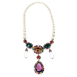 Miu Miu Multicolor Crystal Embellished Faux Pearl Necklace