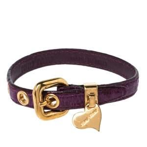 Miu Miu Purple Leather Gold Tone Heart Charm Bracelet