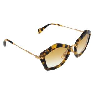 Miu Miu Yellow Havana/ Yellow Gradient SMU06O Geometric Sunglasses