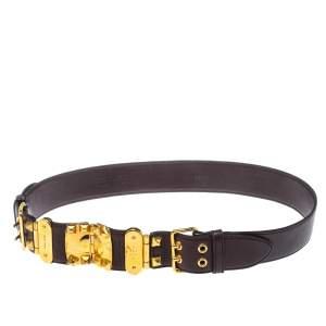 Miu Miu Maroon Leather Studded Belt 80CM