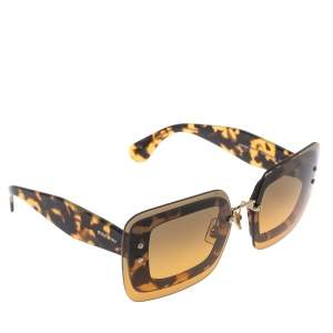 Miu Miu Light Havana/ Bicolor Gradient SMU 02R Reveal Square Sunglasses