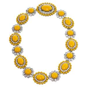 Miu Miu Yellow Crystal Embellished Floral Choker Necklace