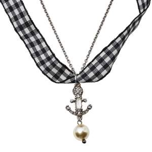 Miu Miu Silver & Gingham Crystal Anchor Pendant Necklace