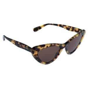 Miu Miu Tortoiseshell/Brown Logo SMU01V Cat-Eye Sunglasses