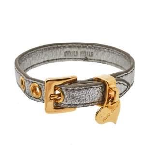 Miu Miu Silver Leather Gold Tone Heart Charm Bracelet