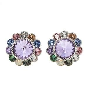 Miu Miu Multicolor Crystals Flower Clip-On Stud Earrings