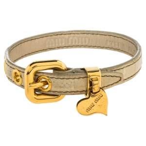 Miu Miu Cream Crocodile Embossed Leather Gold Tone Heart Charm Bracelet