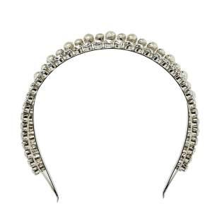 Miu Miu Classic Faux Pearl and Crystal Double Headband
