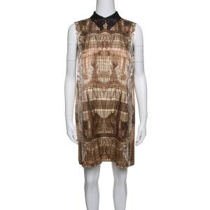 Miu Miu Brown Printed Contrast Lurex Collar Detail Sleeveless Dress M