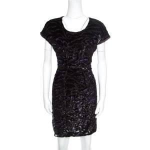 Miu Miu Dark Purple Metallic Animal Pattern Velvet Burnout Sheath Dress L