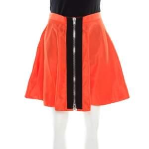 Miu Miu Orange Zip Front Detail Mini Circle Skirt S