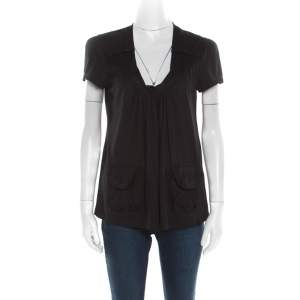 Miu Miu Black Cotton Jersey Patch Pocket Detail Top XS