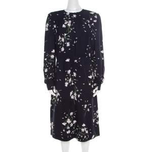 Miu Miu Navy Blue Floral Printed Ruched Waist Detail Long Sleeve Dress M