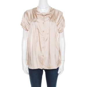 Miu Miu Beige Satin Ruched Bodice Detail Short Sleeve Blouse M