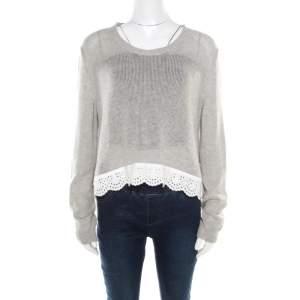 Miu Miu Heather Grey Open Knit Eyelet Trim Sweater Top M