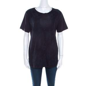 Miu Miu Navy Blue Jersey Lace Overlay Short Sleeve T-Shirt L