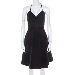 Miu Miu Black Textured Classic Cinched Waist Dress S
