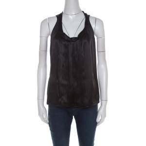 Miu Miu Black Satin Silk Pleat Front Sleeveless Blouse S
