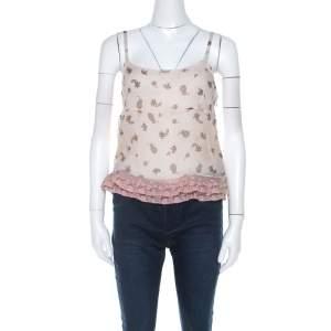 Miu Miu Pale Pink Silk Chiffon and Ruffled Lace Detail Camisole Top M