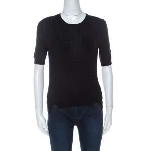 Miu Miu Black Cashmere Rib Knit Short Sleeve Top S