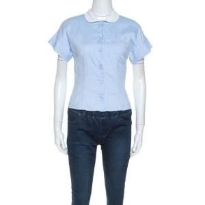Miu Miu Blue Cotton Contrast Collar Sort Sleeve Shirt S