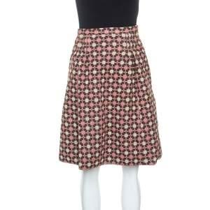 Miu Miu Multicolor Jacquard Knit Wool Midi Skirt S
