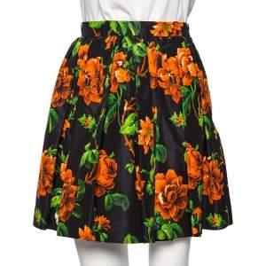 Miu Miu Black Floral Printed Silk Mini Skater Skirt S