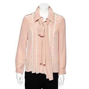 Miu Miu Pink SIlk Lace Trim Neck Tie Detail Shirt S