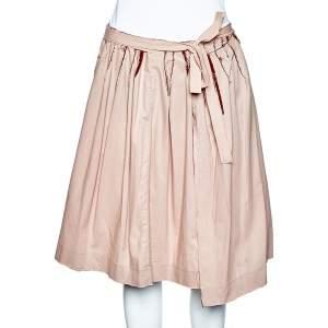 Miu Miu Pale Pink & Red Paneled Rawedge Detail Wrap Skirt M