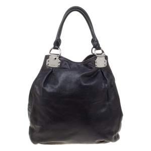 Miu Miu Black Glaze Nappa Leather Shopper Tote