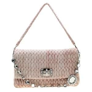 Miu Miu Baby Pink Matelasse Nappa Leather Crystal Shoulder Bag